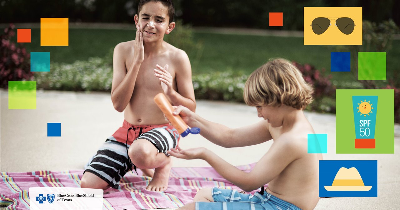 children applying sunscreen
