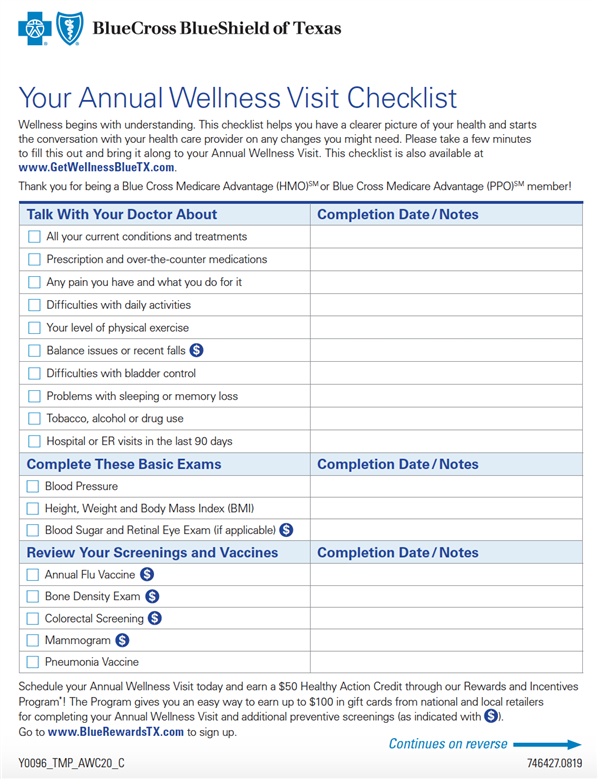 Medicare Annual Wellness checklist